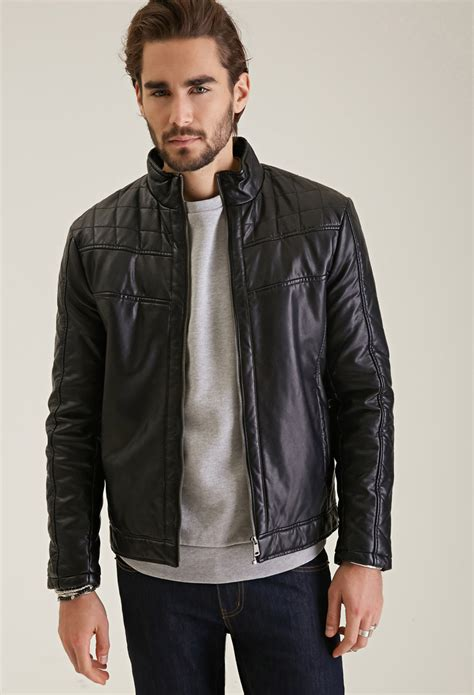 men s lyst forever 21 quilted faux leather jacket in black for men