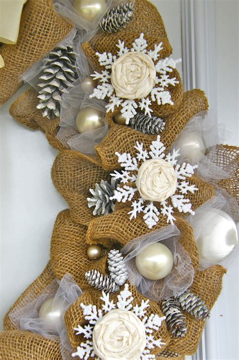 elegant burlap and snowflake wreath fynes designs