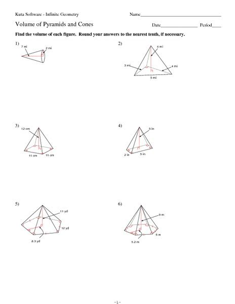 volume and surface area of cone worksheet worksheets volume of pyramid worksheet opossumsoft worksheets and printables