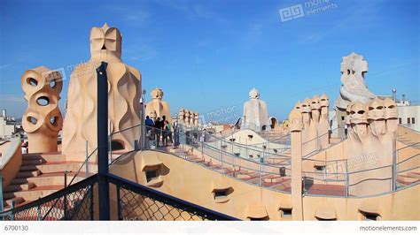gaudi casa mila gaudi casa mila la pedrera barcelona stock footage