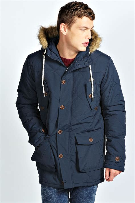 Mens Quilted Parka by Boohoo Mens Fishtail Quilted Parka In Navy Ebay