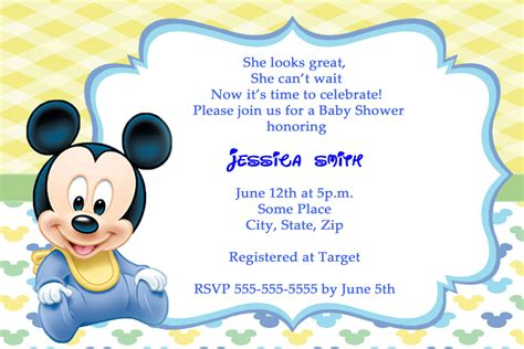 baby mickey mouse invitation template mickey mouse baby shower invitations thank you cards