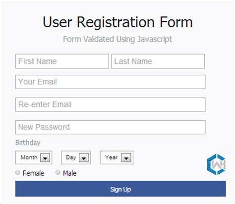 design html form using div registration form validation using javascript with exle