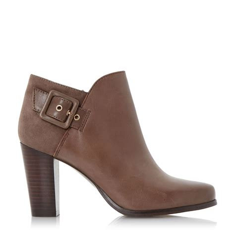 Block Heel Buckled Boots dune oaklee buckle block heel ankle boots in brown lyst