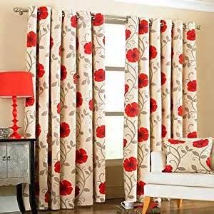 Poppy Kitchen Curtains Poppy Flower Panama Print Eyelet Curtains 90 X 90 Inch Co Uk Kitchen Home