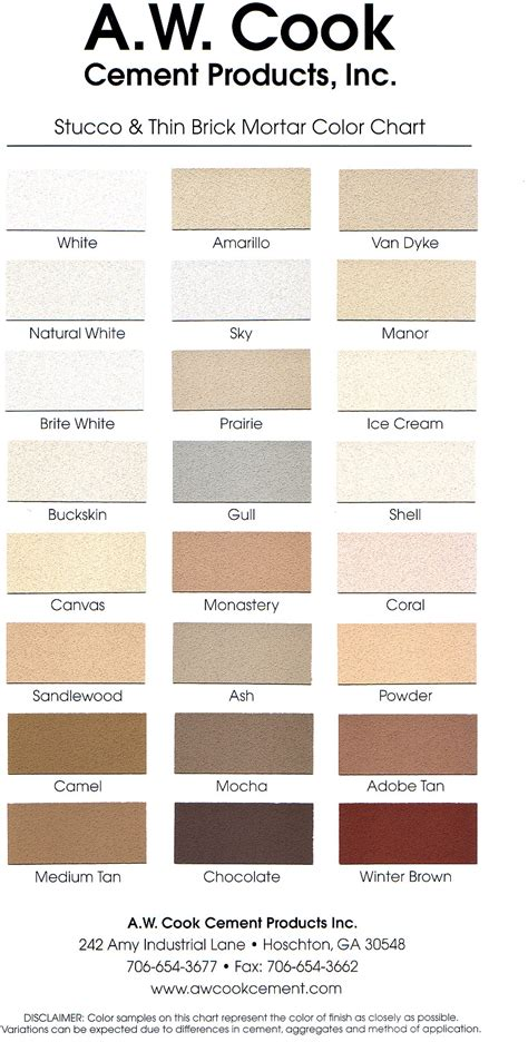 mortar color a w cook cement products