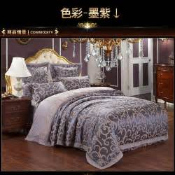 luxury purple satin jacquard bedding comforter set