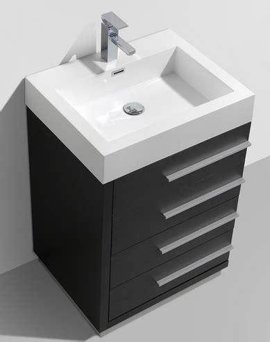 24 Inch Bathroom Vanity With Drawers 24 Inch Black Finish Modern Bathroom Vanity With Four Drawers