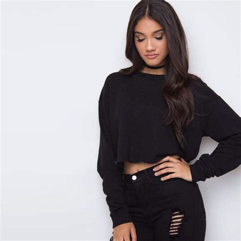 Pom Crope Hoodie Sweater 1 autumn winter sweatershirt 2016 casual solid crop hoodies sleeve black tracksuit o