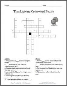 printable thanksgiving crossword puzzles free printable thanksgiving crossword puzzle student