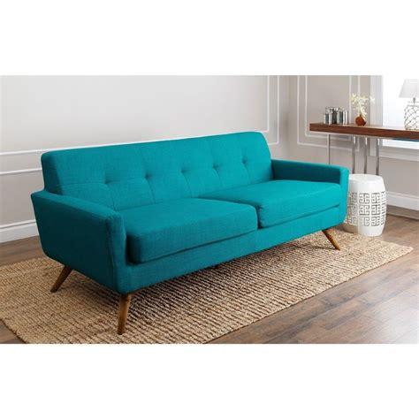 abbyson bradley mid century style teal sofa by abbyson