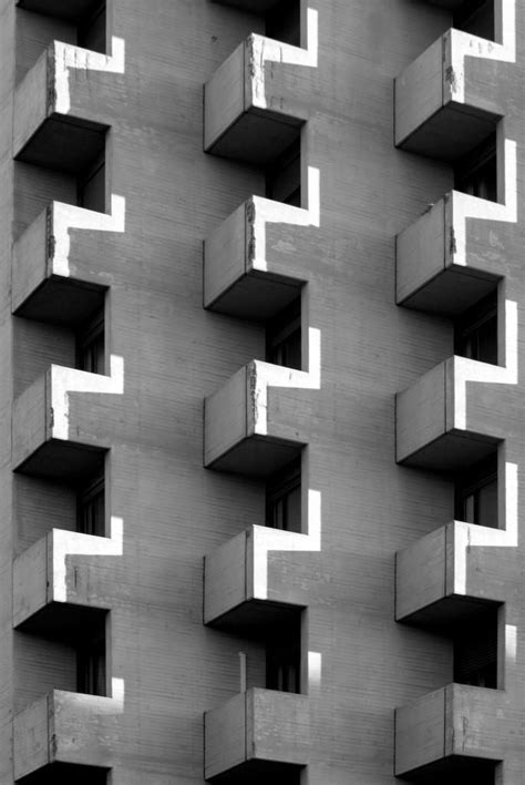 Detail of one of Kenzo Tange towers in Bologna. Photo