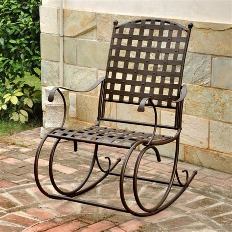 Patio Rocking Chairs Metal Furniture Metal Outdoor Dining Chairs Excellent Mid Century Modern Wrought Iron Swivel Rocker