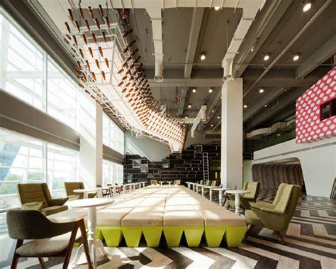 colorful interactive multi level lounge design at