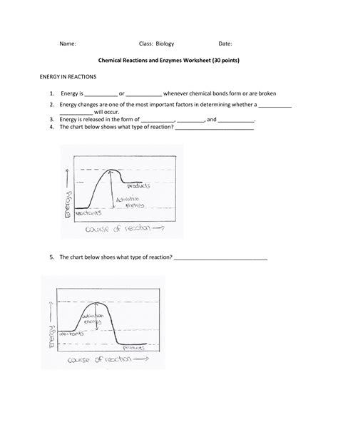 Enzymes Worksheet by Enzyme And Chemical Reactions Practice Best Free