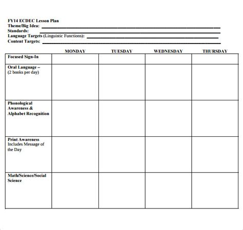 lesson plan template preschool printable sle blank lesson plan template 10 free documents in pdf