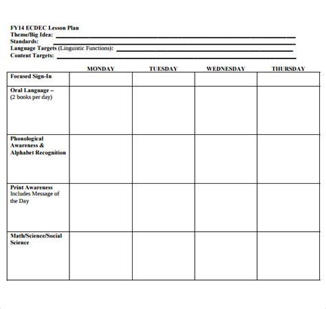 Galerry printable blank preschool lesson plan forms