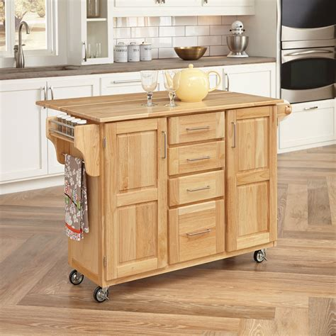 wood kitchen island cart home styles 36 quot h x 52 1 2 quot w x 18 quot d wood kitchen cart with wood drop leaf breakfast bar