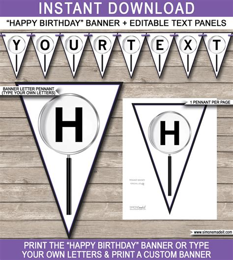 Secret Agent Party Banner Template Happy Birthday Bunting Pennants Diy Pennant Banner Template