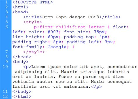kursus design grafis tebet drop caps dengan css