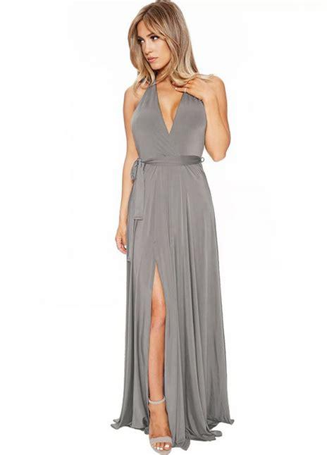 Maxi Hs s v neck backless sleeveless high slit maxi dress with belt achicgirl