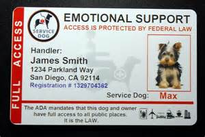holographic emotional support animal id card service dog