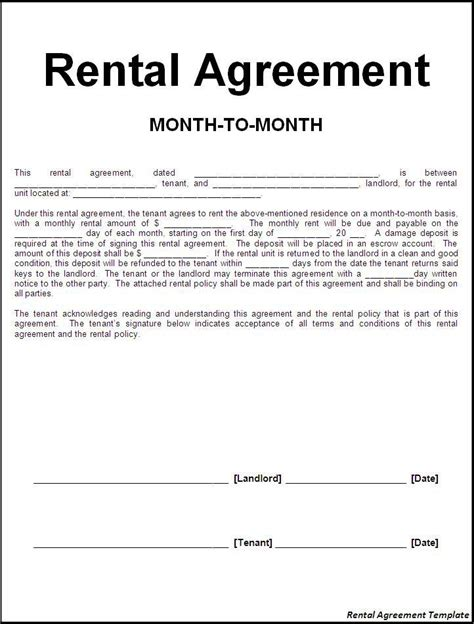 Agreement Letter Word Rental Agreement Letter Jvwithmenow