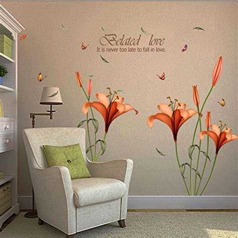 wall sticker hatop red lily flower wall stickers