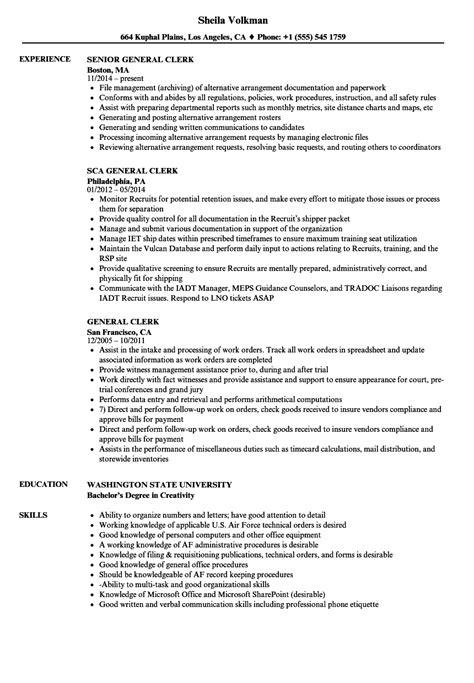 general clerk resume sles velvet