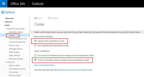 Office 365 Mail Enabled Folder Turn Outlook Clutter Feature With Powershell
