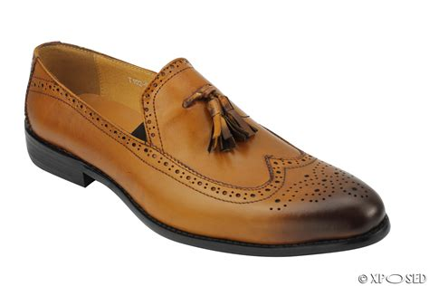 mens new real leather black vintage tassel brogue