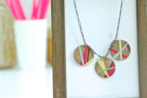 Handmade Wooden Necklaces - how to make to a painted geometric wood necklace dear