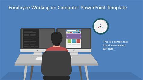 Employee Working On Computer Powerpoint Template Slidemodel Computer Template For Powerpoint