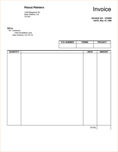 8 Blank Invoice Template Pdf Authorizationletters Org Blank Bill Template