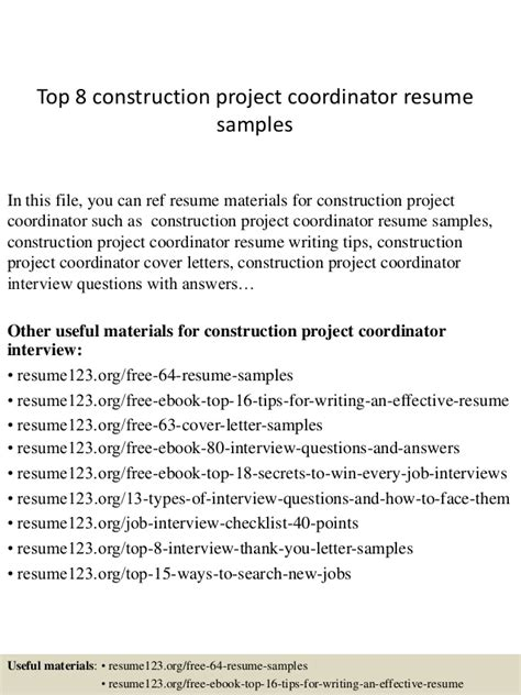 construction project resume format top 8 construction project coordinator resume sles