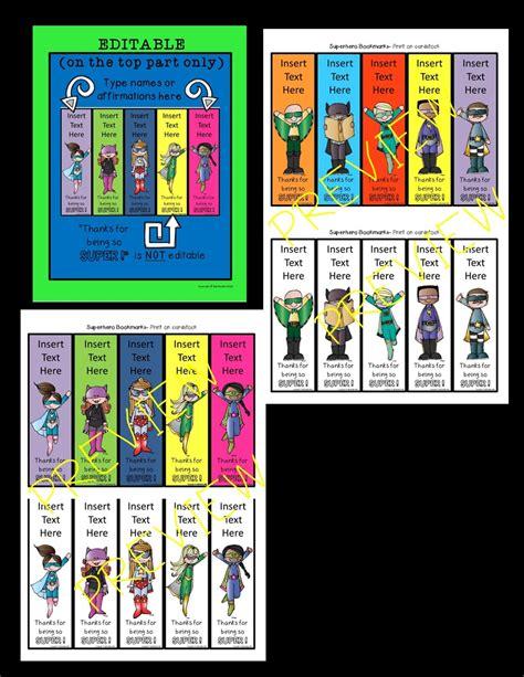 printable bookmarks superheroes superhero editable bookmarks