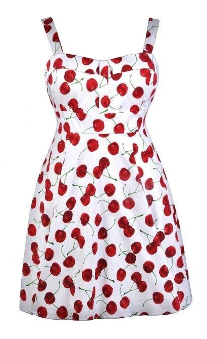 Cherry Dress cherry print dress plus size dress retro print