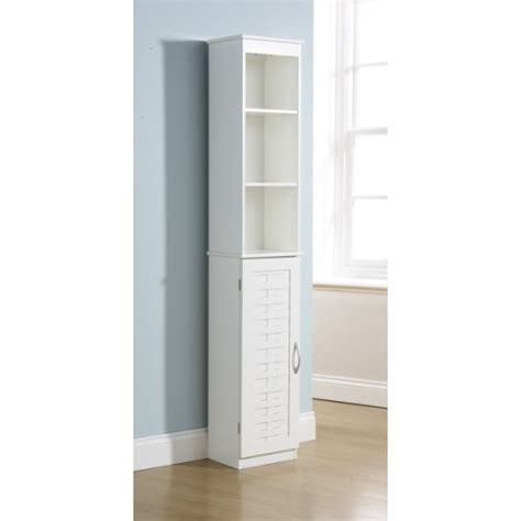 white bathroom cupboard 1 door cabinet 3 shelves bath