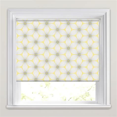 white patterned roller blind golden yellow grey white retro geometric patterned