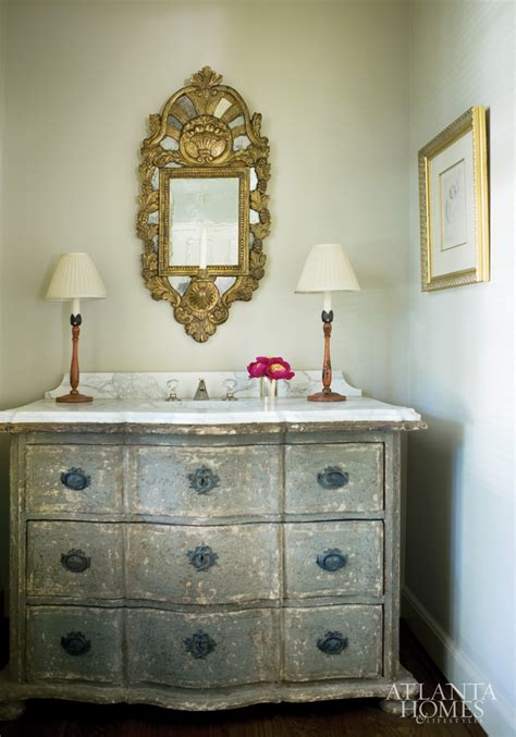 vintage powder room a gray gray antique chest in the powder room