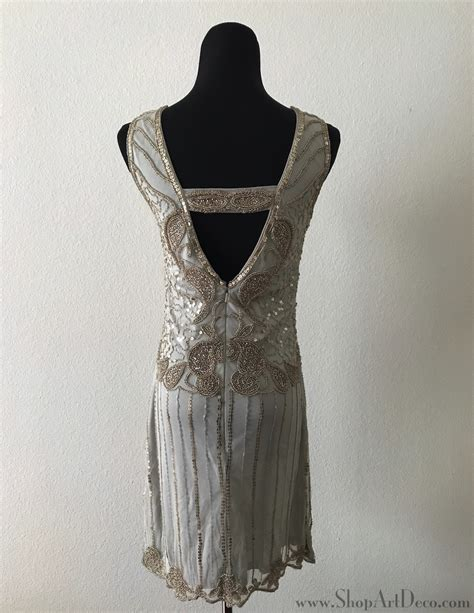 grey beaded dress grey beaded flapper dress deco shop