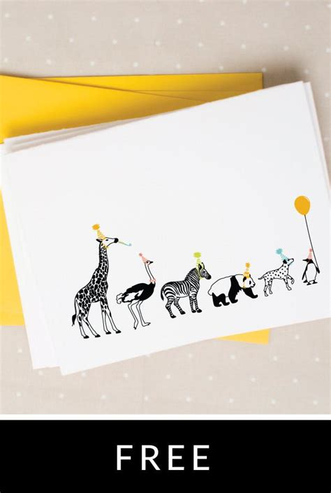 animal birthday card template animals notecards caravan shoppe