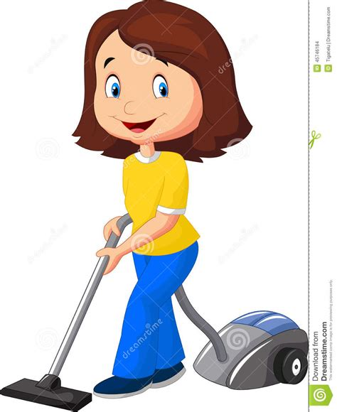 Cleaning Blogs by Mom Cartoon With Vacuum Cleaner Stock Vector Image 45746184
