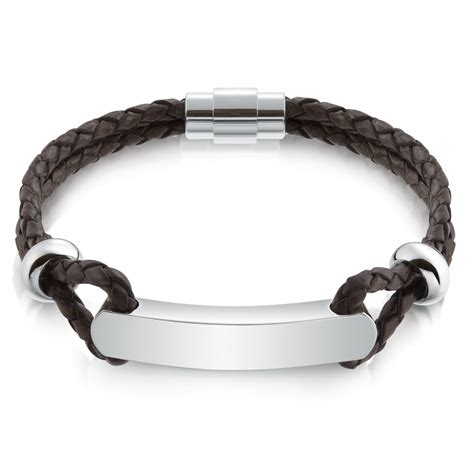 mens leather id bracelets s brown leather id bracelet personalised stainless steel