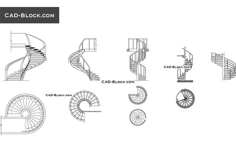 Spiral Staircase Elevation Cad Drawing spiral stairs cad block free drawings details