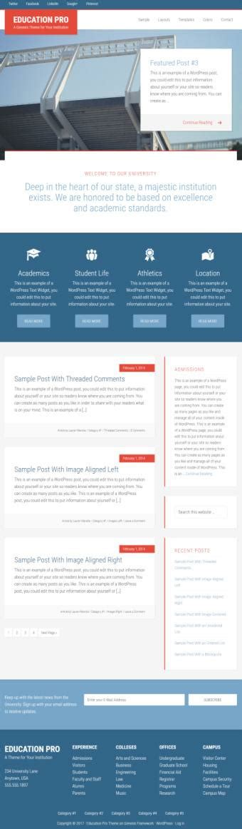 genesis education pro theme by studiopress academic standard education pro theme review studiopress worth