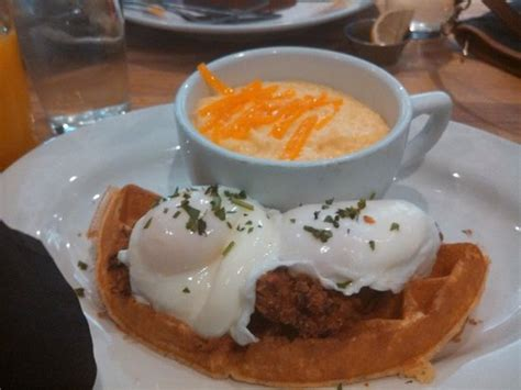 eggs benedict and cheese grits at terrace cafe picture chicken and waffles benedict with cheese grits picture