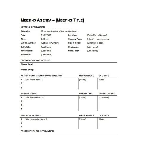 effective meeting agenda templates  template
