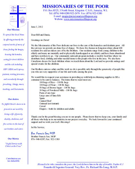 Support Letter Template For Missions Claa Missions News And Info From The Missions Front