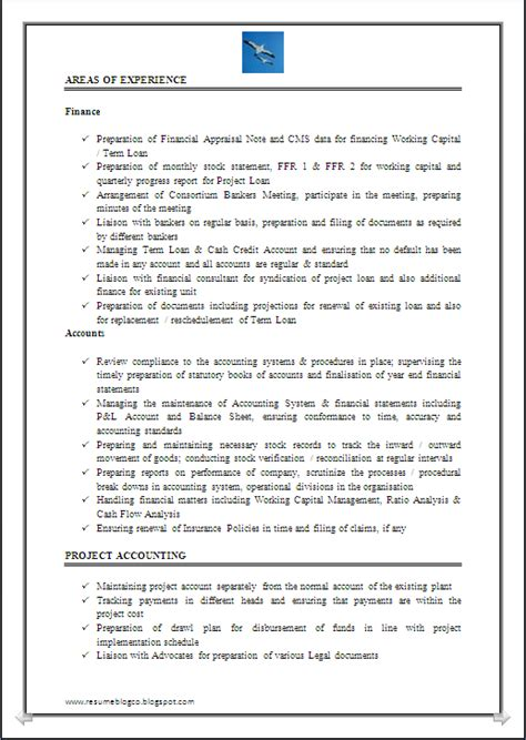 Exle Resume Accounting Year Experience Resume Co Resume Sle Of Chartered Accountant Ca Company Cs 7